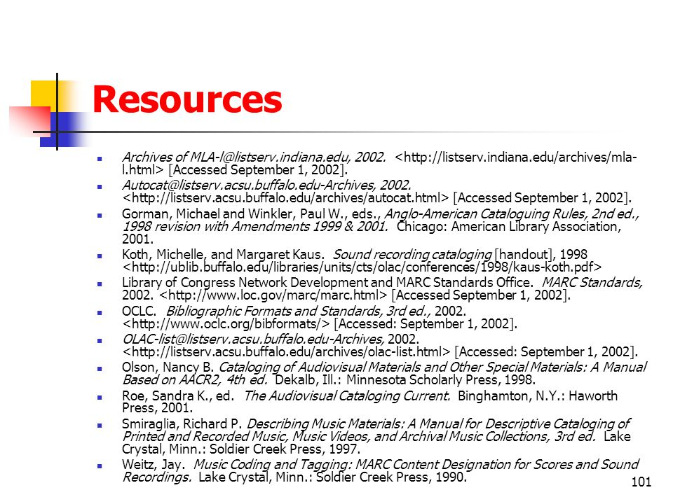 Resources Archives of MLA-l@listserv.indiana.edu, 2002. <http://listserv.indiana.edu/archives/mla-l.html> [Accessed September 1, 2002].